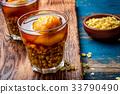 Mote con huesillo. Traditional Chilean drink made 33790490