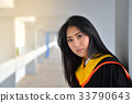 Asian cute women portrait graduation. 33790643