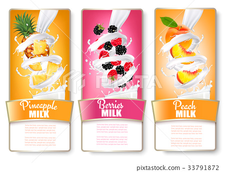 Set of three labels of of fruit in milk splashes 33791872