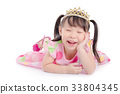 girl wearing pink color dress with crown smiling  33804345