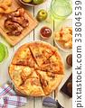 Korean kimchi pork pizza 33804539