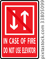 In case of fire do not use elevator 33805099