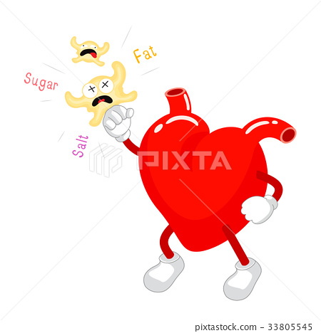 Cute cartoon heart Fight with fat. 33805545