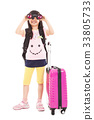 little girl holding telescope and travel suitcase 33805733