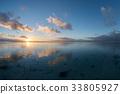 Sunset on polynesian white sand beach 33805927