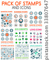 Mega pack of stamps and technology web icons 33807647