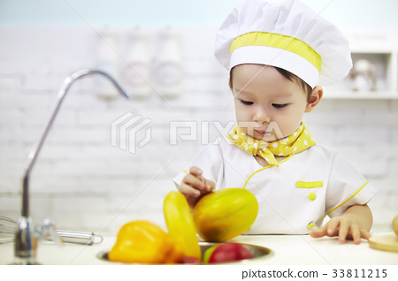 유아,베이비,아기,요리사 33811215
