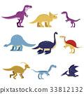 dinosaur, vector, cartoon 33812132
