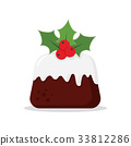 Traditional Christmas Pudding with Holly 33812286