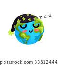Cute cartoon sleeping Earth planet emoji, funny 33812444