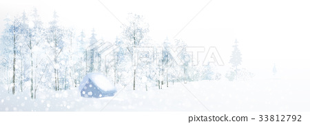 Vector winter snow landscape. 33812792