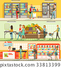People in supermarket horizontal colorful banners 33813399