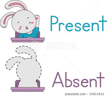 Present Absent Rabbit Mascot Student 33813632