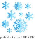 vector, flat, snowflakes 33817192