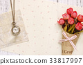 Stock photography flat lay letter envelope rose 33817997