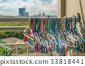 Serveral types of clothes hanger hang on rack 33818441