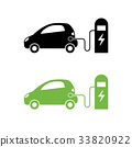 Electric car and electrical charging station icon. 33820922