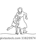 Hand line drawing of roller skates 33820974