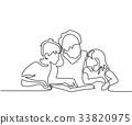 Grandmother reading book with her grandchildren 33820975