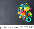 Colorful stationery back to school concept on dark 33821303