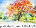 watercolor landscape painting peacock flower tree 33824228