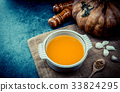 hot pumpkin soup for Thnaksgiving and halloween 33824295
