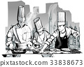 Chefs in a restaurant kitchen cooking 33838673