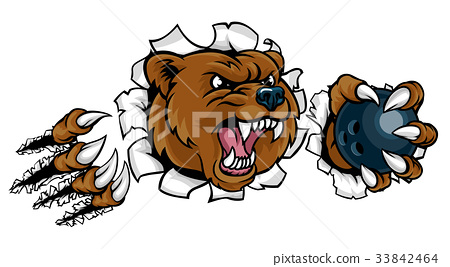 Bear Holding Bowling Ball Breaking Background 33842464