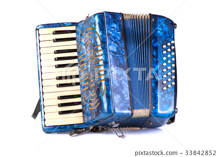 Blue Accordion popular musical instrument 33842852