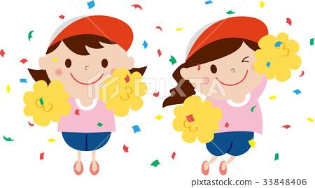 Cheer girl cheering for athletic meet 33848406