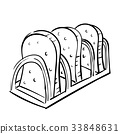 Hand drawnToasting Bread, vintage stlye-Vector  33848631