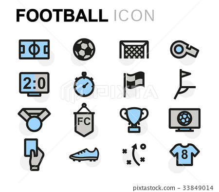 Vector flat football icons set 33849014
