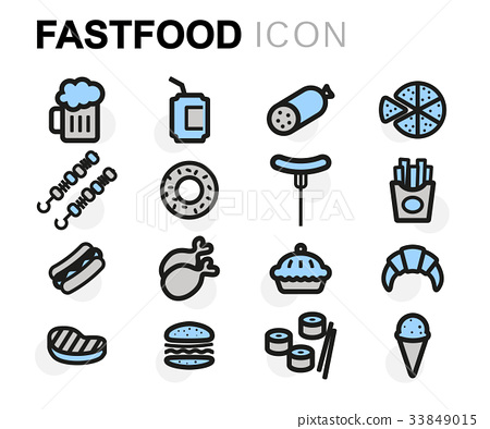 Vector flat fastfood icons set 33849015