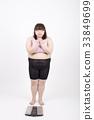 흰색 배경 앞에서기도하는 손을 모아 체중계 앞에 서있는 살찐 젊은 여자 33849699