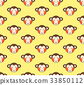 Monkey Seamless on Yellow Background. Vector  33850112
