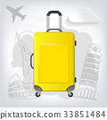 Travel bag with different travel elements vecto 33851484