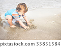 playing, beach, boy 33851584