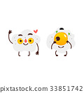 Two smiling fried sunny side up egg characters 33851742