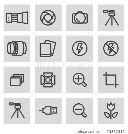 Vector black line photo icons set 33852315
