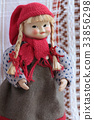 puppet in a red cap with pigtails and red bows 33856298