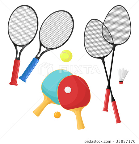 Sport items for: tennis, badminton and ping-pong. 33857170