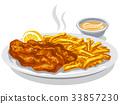 鱼 薯片 油炸的 33857230