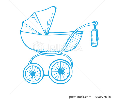 Hand drawn baby stroller isolated on background 33857616