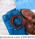 Man's clothes lifestyle shoes flat lay 33858098