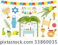 Happy Sukkot icon set, flat, cartoon style 33860035