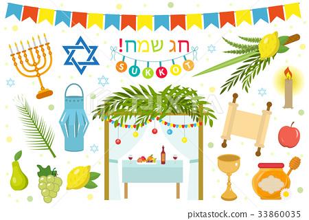 Happy Sukkot icon set, flat, cartoon style 33860035