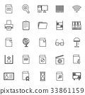 Library line icons on white background 33861159