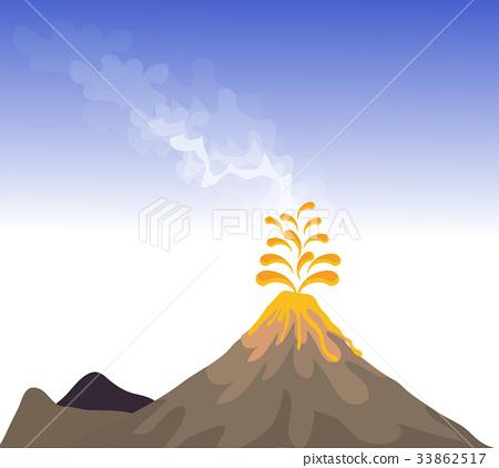 Volcano eruption with hot lava illustration 33862517