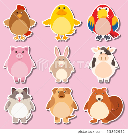Sticker design with farm animals 33862952