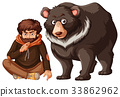 Man and grizzly bear on white background 33862962